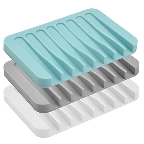 Jinlaili 3 Stück Silikon Seifenschale Dusche, Kreative Selbstleerend Silikon Dusche Seifenschale Seifenhalter Seifenablage, Seifenkiste Seifen Box Für Seife Scrubber Schwämme
