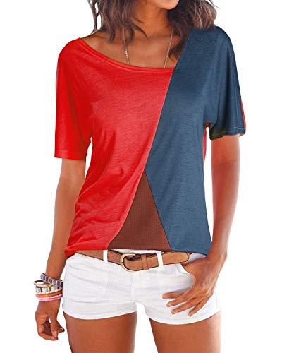 YOINS Sexy Schulterfrei Oberteil Damen Tshirt Sommer Oberteile Frauen Tunika Damen Tops Gestreift Pulli Lose Hemd Kurzarm-rot EU36-38 (Herstellergröße:M)