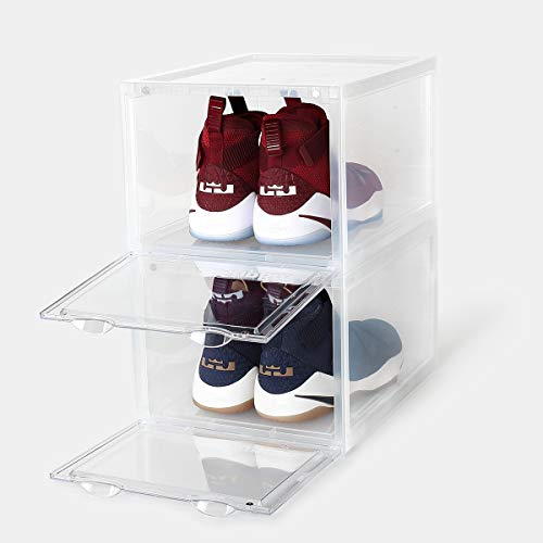 SupBro Collection Crate - Easy Access Storage Shoes Box -Plastic Foldable Stackable Sneaker Display Storage with Clear Front Door Organizer-2 Pack (Transparent)