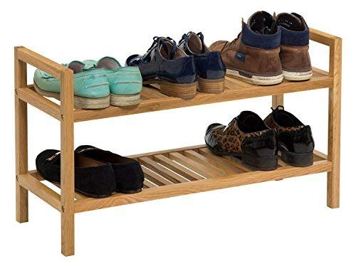 Hallowood Waverly Stackable Shoe Rack Storing 6 Pairs | Organiser Stand | 700mm, Light Oak, Wide, 2 Tiers