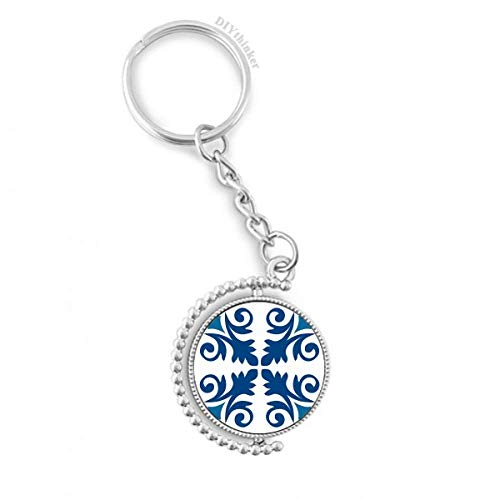 DIYthinker Patrón Marruecos Decorativo Flor Azul Llave Giratorio Anillo de la Cadena Pilgrim