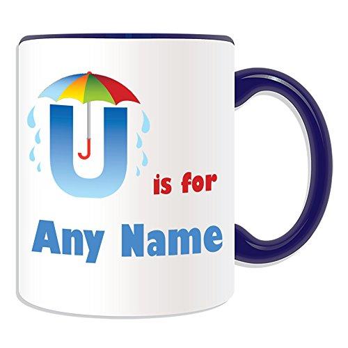 Regalo personalizado–letra U para taza (alfabeto diseño tema, colores)–cualquier nombre/mensaje en su único–A B C D E F G H I J K L M N O P Q R S T U V W X Y Z inicial con símbolo fonético uniforme paraguas, cerámica, azul