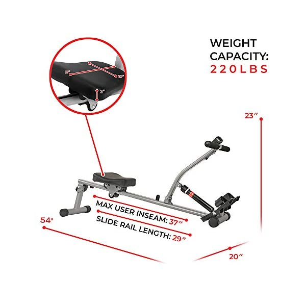 Fitness Equipment Shopping Sunny Health & Fitness SF-RW1205 Rowing Machine Rower with 12 Level Adjustable