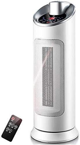 YYhkeby Ventilador de Torre eléctrico oscilante de cerámica portátil de 2kW con 3 configuraciones de Calor y Ajuste de Ventilador Fresco, Temporizador de 12 Horas, Punta de Jialele (Color : White)