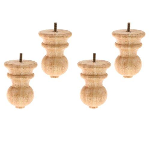 Backbayia 4 Stück Möbelfüße Holz Schrankfuß Tischfuß Sockelfuß für Möbelfüße Füße Sofa Couch Stuhl Bett Schrank Wohnzimmer Sofa Dekor