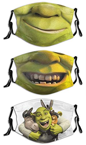 Face Mask Balaclava Windproof For Dustproof Mouth Cover 3PCS with 6 Filter Adjustable Elastic Strap Made In USA Donkey Shrek and Puss Funny smile
