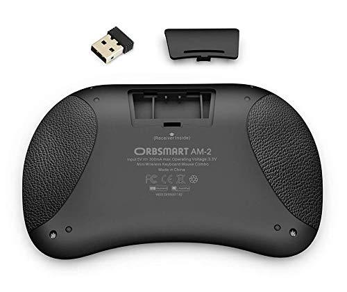 Orbsmart AM-2 kabellose Mini-Tastatur mit integrierten Touchpad/Wireless Keyboard inkl. deutsches Tastaturlayout/LED-Beleuchtung/Fernbedienung für Android TV Boxen/Windows Mini-PC