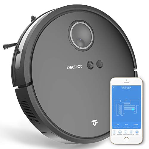 Tecbot TV02, Visual Robot Vacuum Cleaner with camera for pet hair daily trash, Auto-Charging, 1800Pa Strong Suction, APP control, 600ml big dustbin, Super Quiet, Auto-Charging, smart navigating(Black) Dining Features Kitchen Robotic Vacuums