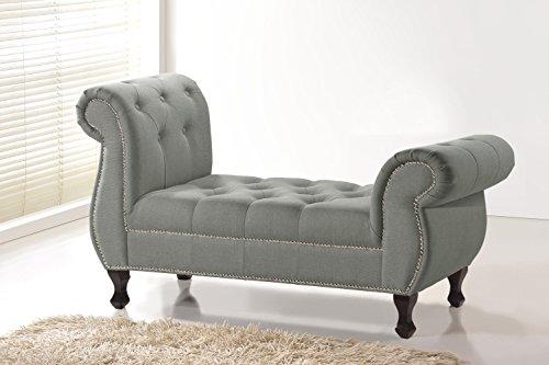 Baxton Studio Ipswich Linen Bench, Grey