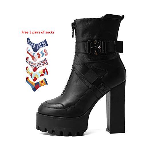 YQSHOES Leren laarsjes, waterdicht platform, hoge hakken, Britse stijl, schoenen voor vrouwen in de lente en herfst