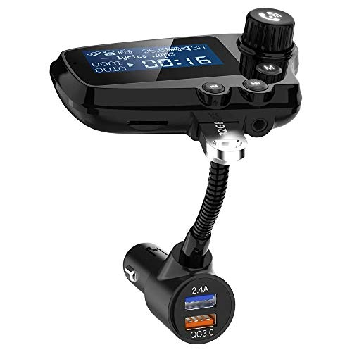 WNN-URG Bluetooth FM Transmitter for Car, USB 3.0 & Deep Bass Car Bluetooth Adapter 2 USB Ports, Hands-Free Call, Music Player Support U Disk/Tf Card URG