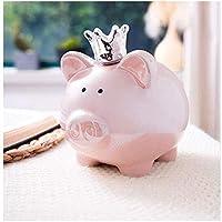 貯金箱セラミックピンク豚貯金箱お貯金箱キッズ大人小さな変更大容量の現金箱の女の子コイン銀行ギフトカード (Color : Pink)