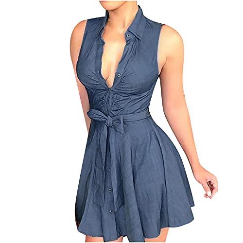 AMhomely Vestido de mujer Venta Promoción Liquidación Moda Señorita Solapa Casual Sexy Impresión Sin Mangas Camisa Suelta Vestido Reino Unido Tamaño Fiesta Elegante Vestido