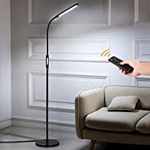 LED Floor Lamp for Living Room Bedroom Office with Remote Control and Timer, 5 Brightness Level 5 Color, 1800lm Dimmable Standing Light , Albrillo 2-in-1 LED Reading Lamp, Black