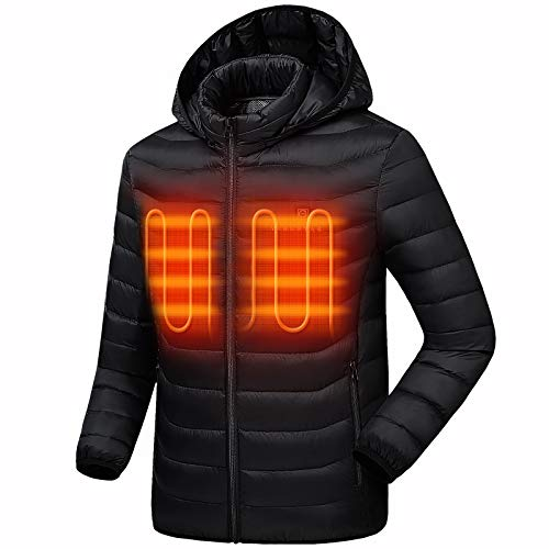 Venustas [2019 Upgrade] Heated Jacket with Battery Pack (Unisex), Heated Coat for Women and Men with Detachable Hood Black