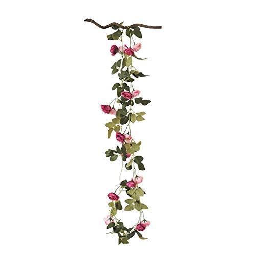 GCX Natural Flor Falsa Vid de Rose Colgar de la Pared Interior de Aire Acondicionado de Techo de tuberías for Cubrir la Boda vides Decorativas Calentar (Color : B)
