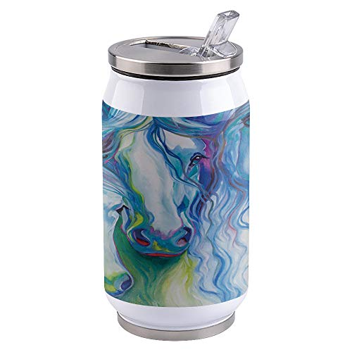 Water Bottle | Vacuum Insulated Stainless Steel Water Bottle 10oz | Abstract, Swift Horse | Double Walled Water Bottles | Wide Mouth with Straw Lid | Leak Proof Flip-Top