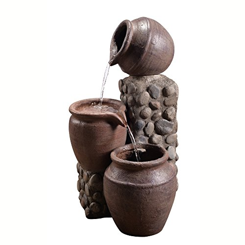 Peaktop Outdoor Stacked Pot Fountain, 26', Stone Grey