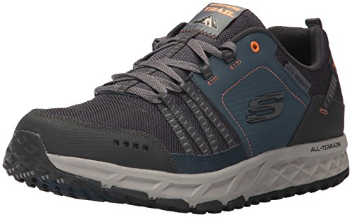 Skechers Escape Plan, Zapatillas de Entrenamiento Hombre, Azul (Navy/Orange), 39.5 EU