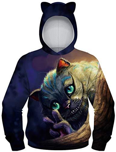 Ocean Plus Jungen Kapuzenpullover mit Katzenohren Langarmshirt mit Digitaldruck Kinder Tierdruck Sweatshirt Kätzchen Pullover (M (Körpergröße: 135-140cm), Grinsekatze)