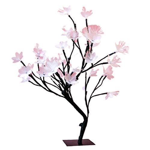 OSALADI Blume Baum licht Blume 24 led USB Bonsai kirschbaum Blume schwarz niederlassungen herzstück Urlaub Dekoration für Schreibtisch Fenster ideal dekor Party (schwarz)