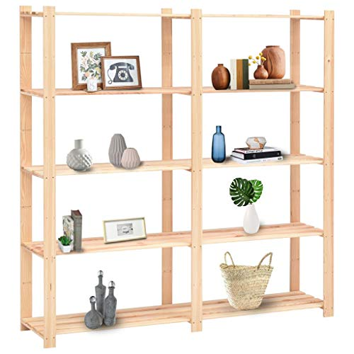 pedkit 5-Tier Storage Racks, Garage Shed Storage Shelving Units Kitchen Shelf 10 pcs 170x38x170 cm Solid Pinewood 500 kg