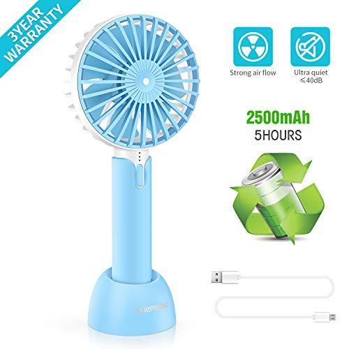 Lemebo USB Ventilador de Mano Portátil de 3 Velocidad con Batería Recargable Mini Hand Fan para Ejercicio al Aire Libre Viaje Mini Hand Fan