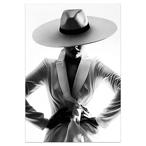 JHGJHK Exquisito Arte de Pared de Moda en Blanco y Negro Mujer bajo el Agua impresión Cartel de Belleza Lienzo Arte Pintura de Pared de Belleza decoración del hogar Moderno