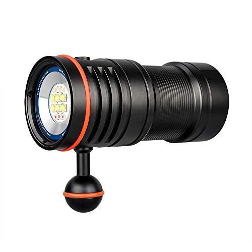 TrustFire DF50 Kit Linterna de Buceo 6500 Lumen con 1 x Paquete de baterías Tipo C USB Recargable y 70M Impermeable - 3 Tipos Diferentes de LED para la fotografía (Luz UV y luz roja)
