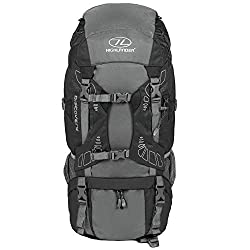 """HIGHLANDER 45 liter Discovery backpack Lightweight hiking backpack with waterproof cover - ideal for hiking, traveling, trekking, camping and """"D of E"""" - black"""