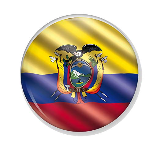Gifts & Gadgets Co. Ecuador Flag In The Wind Button Badge 77 mm Round Lapel...