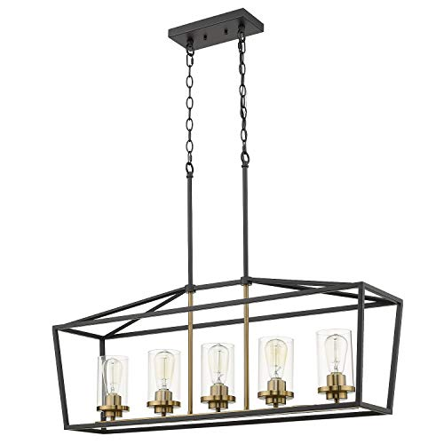Emliviar Modern 5-Light Kitchen Island Pendant Light Fixture, Linear Pendant Lighting, Black and Gold Finish with Clear Glass Shade, P3033-5LP