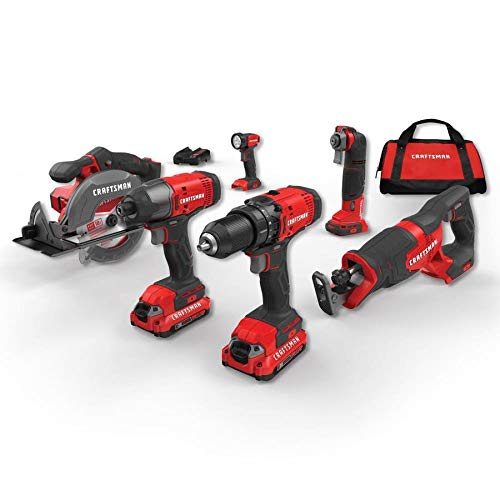 CRAFTSMAN CMCK600D2 V20 6-Tool 20-Volt Max Power Tool Combo Kit with Soft Case (Charger Included and 2-Batteries Included)