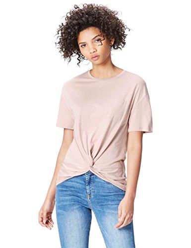 Amazon-Marke: find. Damen Verkürztes T-Shirt mit rundem Ausschnitt, Rosa (Blush), 40, Label: L