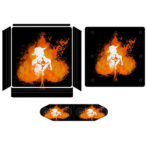 One Piece Ace On Fire Compatible with PS4 Slim controller and console skin sticker protective cover wireless/wired gamepad controller