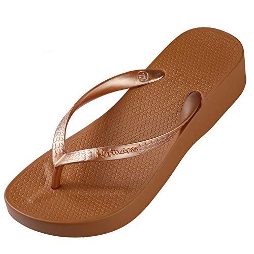 WDDNTX flip-flops dames hoge hak plateau sandalen strandslippers wig flip flops mode folie zomer schoenen vrouw huisschoenen
