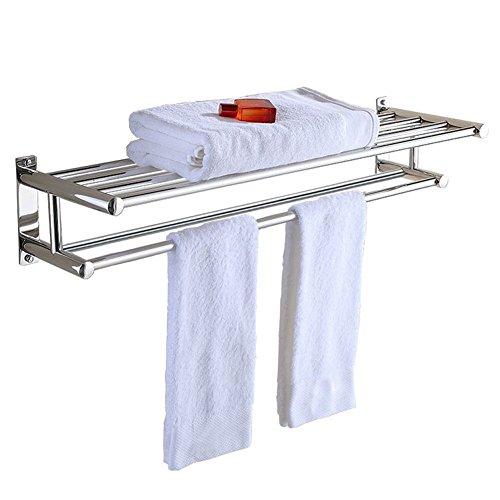 Stainless Steel Double Towel Bar 23 inch wih 5 Hooks,bathroom shelves?towel holders bath,towel rack,bathroom shelves