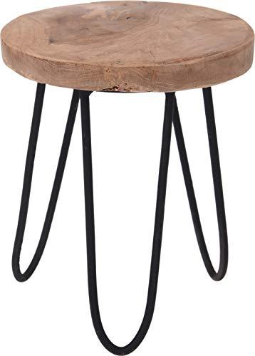 Mini Beistelltisch Hocker Holz Teak Teakholz braun Natur Kleiner Tisch Ø 15 cm