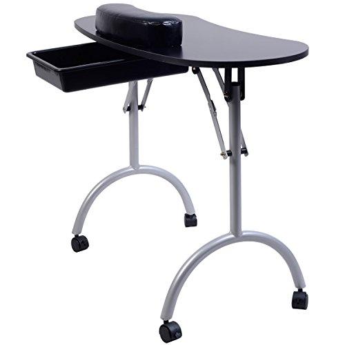FDS Tragbare Maniküretisch Kosmetiktisch Nageltisch Schreibtisch Workstation mit Tasche und Handgelenkauflage (Schwarz)