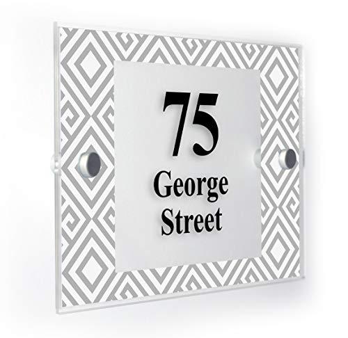 Motif Gris Abstrait Plaque Numéro de Maison personnalisée Home Panneau résistant aux intempéries des Impression de Pointe