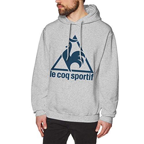 Le Coq Sportif Men's Casual Sweater Autumn Winter Warm Sweater Hoodie Hooded Sweatshirt Gray XXL