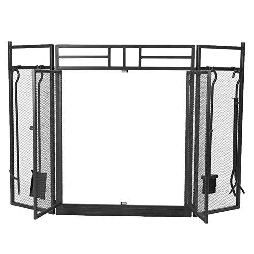 𝐂𝐡𝐫𝐢𝐬𝐭𝐦𝐚𝐬 𝐆𝐢𝐟𝐭 Kamin Bildschirmschoner, garantieren die Sicherheit Passform verschiedene Öffnungen Schmiedeeisen Stahl Schwarz Kamin Bildschirme, stark magnetisch für Wohnzimmer Hauptschl