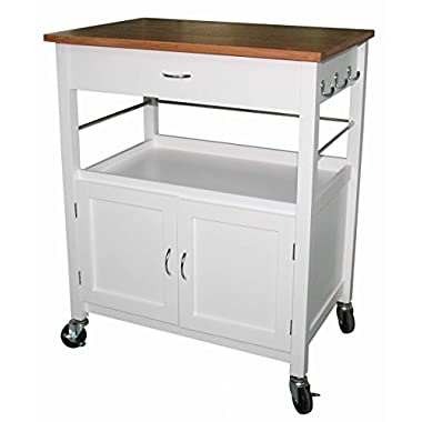 eHemco Kitchen Island Cart Natural Butcher Block Bamboo Top with White Base