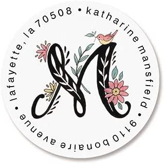 Floral Monogram Round Return Address Labels (4 Designs) - Set of 144 1-1/2