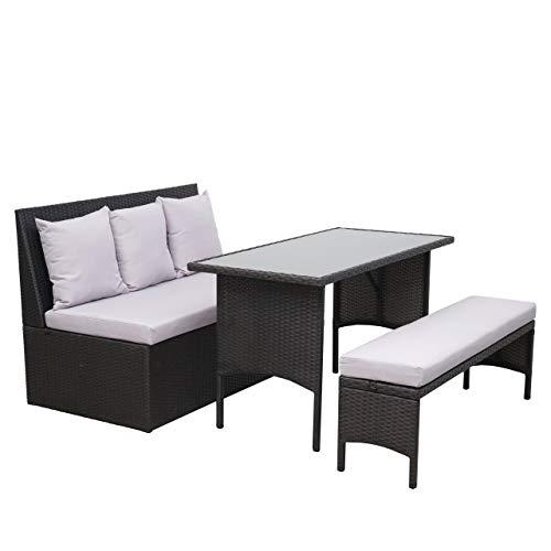 Mendler Poly-Rattan Garnitur HWC-G16, Garten-/Lounge-Set Sitzgruppe, Gastronomie 2er Sofa Tisch Bank ~ schwarz, Kissen hellgrau