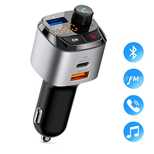 Bluetooth FM Transmitter for Car, ZeaLife Wireless FM Radio Adapter with QC 3.0 & USB-C PD 18W, Car Charger Audio Adapter, Bass Booster MP3 Music Player with Hand-Free Calling,Support U Disk