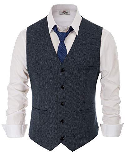 PaulJones Anzug Weste Herren Slim Fit Anzugweste V- Ausschnitt Elegant Retro Business Hochzeit Freizeit Tweed Weste (Small, Dunkelbalu)