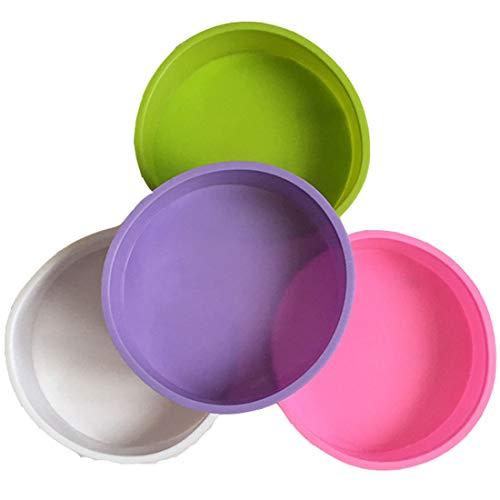 Moldes de silicona para tartas, 4 unidades, redondos, 6 pulgadas, antiadherentes, bandeja para hornear para cumpleaños, bodas, aniversarios (blanco, rosa, morado y verde)