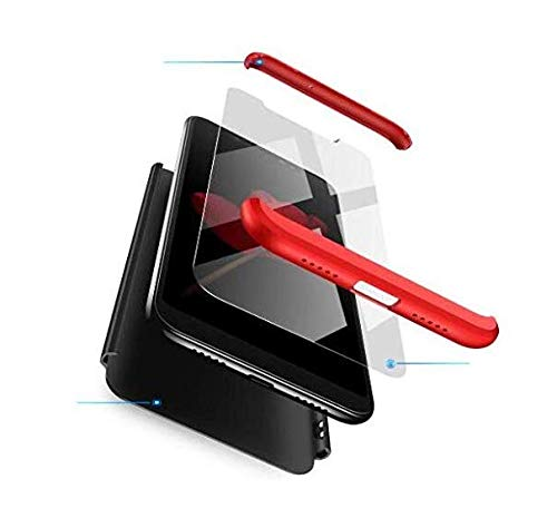 BIKANA Funda Compatible para Meizu M5 Note Carcasa[1*Cristal Templado] 3 in 1 Slim 360°Full-Protección PC Rígide Textura Mate Antideslizante Anti-caída Caso Cover-Rojo Negro
