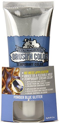 N'Rage Colorageous Brush'N Color Temporary Hair Color, Blue Glitter, 1.2 Ounce by 'N Rage